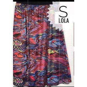 LuLaroe Silky Midi Lola Skirt Multi Color Swirl S NWT